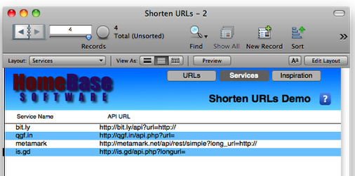 Shortening URLs using FileMaker | HomeBase Software