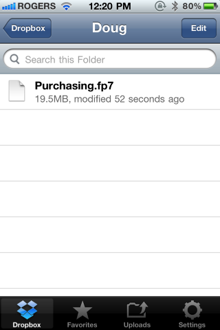 Getting FileMaker Go databases onto an iOS device using Dropbox (4/6)