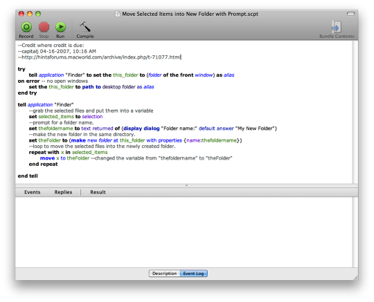 Move Selected Files into a New Folder using AppleScript and Automator (1/6)