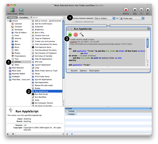 Move Selected Files into a New Folder using AppleScript and Automator (3/6)