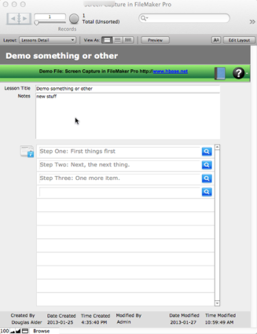 Screen Capture from FileMaker Pro on the Macintosh