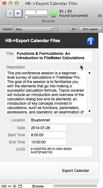 Exporting Calendar files ( ics) from FileMaker Pro 13
