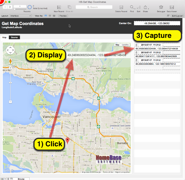Click, Display, Capture – Google Map Longitude & Laude into ... on