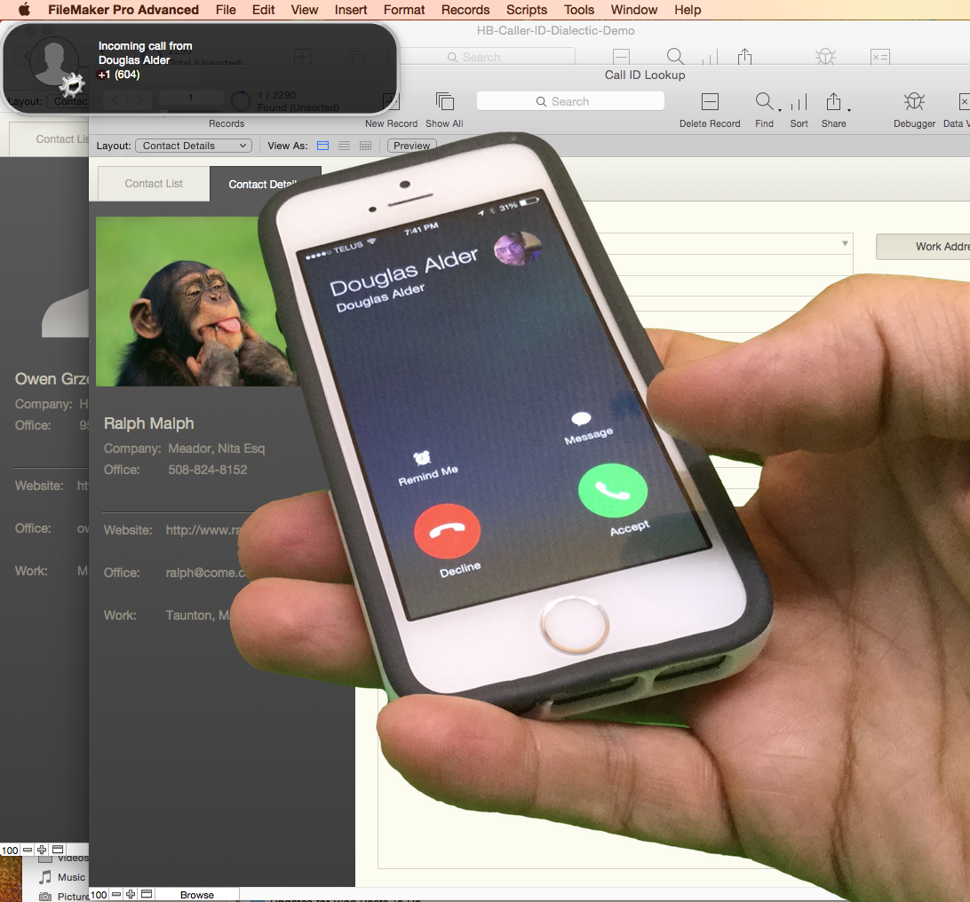 Smart phone caller id triggers customer search in - Mobel used look ...